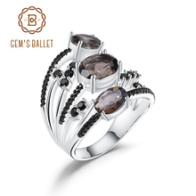 GEMS BALLET 925 Sterling Silver Three Stone Finger Ring 3.30Ct Natural Smoky Quartz Gemstone Rings For Women Fine Jewelry