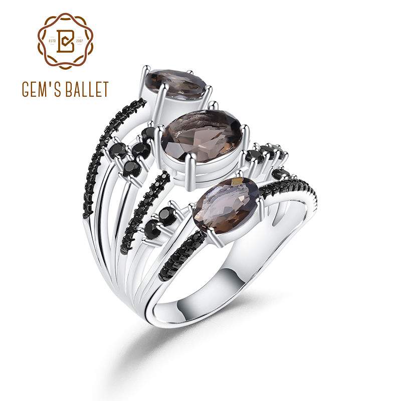 GEM'S BALLET 925 Sterling Silver Three Stone Finger Ring 3.30Ct Natural Smoky Quartz Gemstone Rings For Women Fine Jewelry