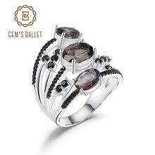 GEMS bale 925 ayar gümüş üç taş parmak yüzük 3.30Ct doğal dumanlı kuvars taş yüzük kadınlar için güzel takı