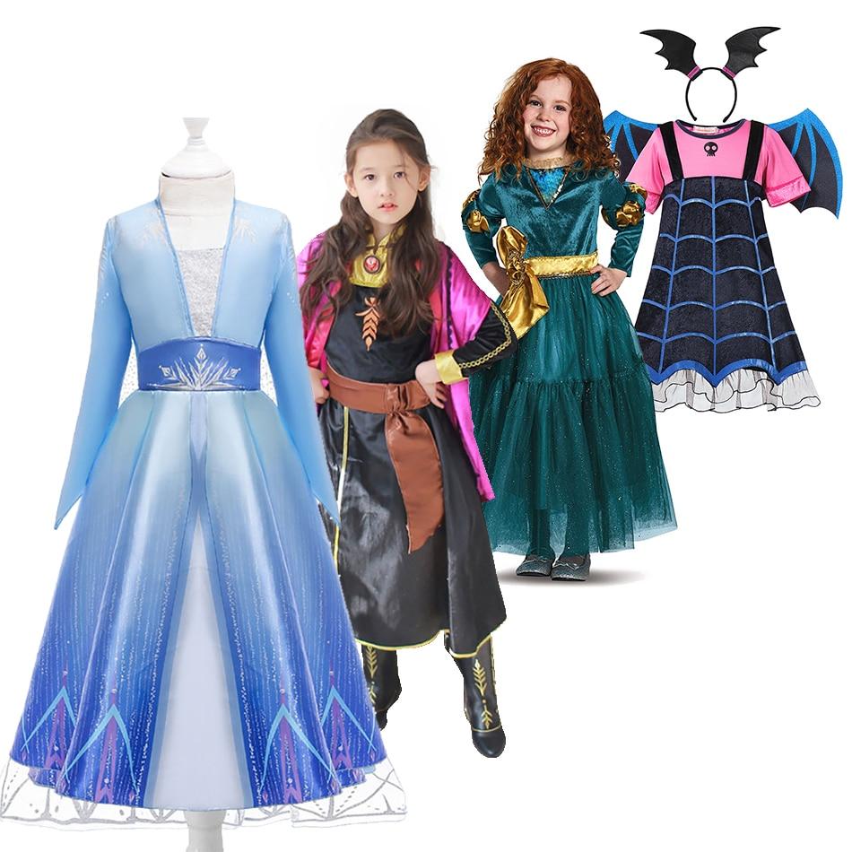 Vestido de princesa, vestido de princesa para meninas branca de neve 2 elsa anna vestido de festa cosplay vampiro rapunzl meridar vestidos de halloween crianças traje elza