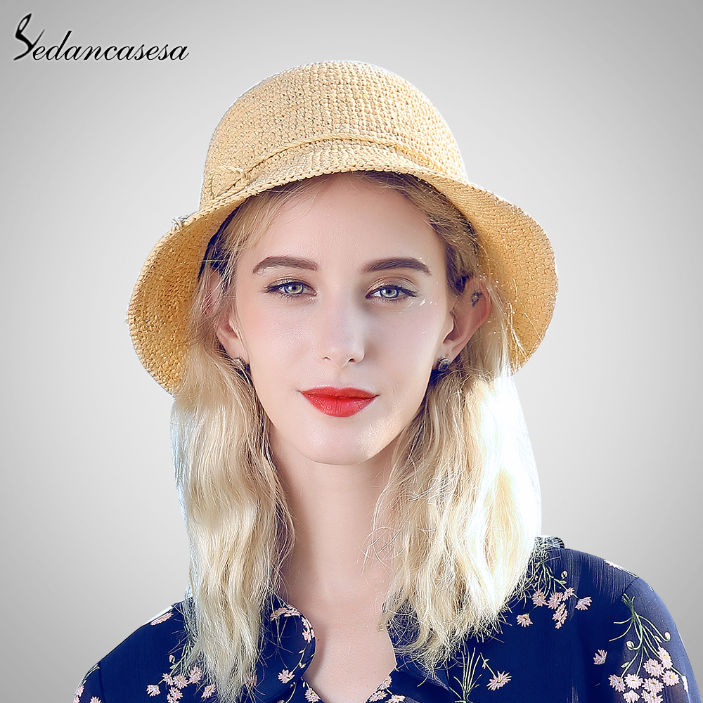 Sedancasesa Summer Sun Hats Handmade Flower Straw Hat Women's Garland Hat Raffia Straw Beach Sun Hat for Women Girls SW105110