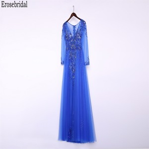 Image 3 - Erosebridal Royal Blue Prom Dress Long Sleeve 2020 New Fashion Elegant Long Formal Evening Gown Party Luxury Beaded Prom Gown