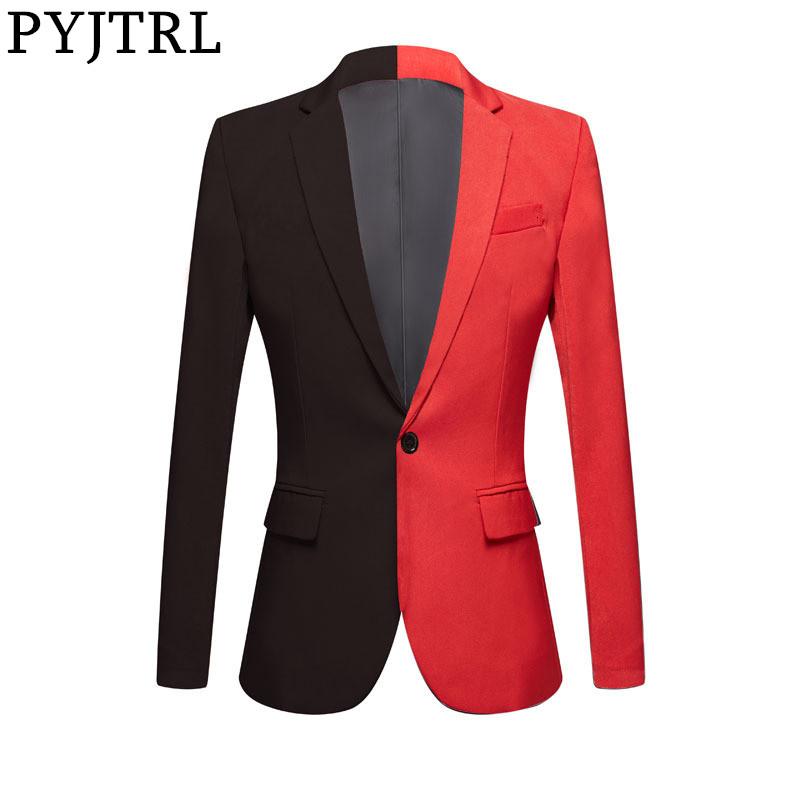 PYJTRL New Fashion Half Black Red Casual Coat Men Blazers Stage Singers Costume Blazer Slim Fit Party Prom Suit Jacket Clothing 1