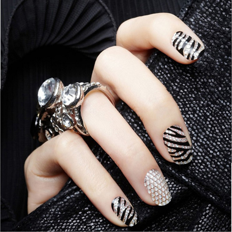 Cross Border Hot Sales DIY Stereo 3D Colorful Crystals Nail Sticker Crystal French Nail Sticker Wholesale BWG01-12 Mixed Batch