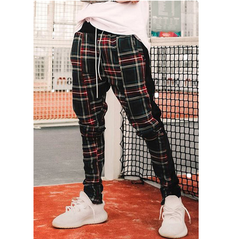 2020 Summer New Men Casual Pants Gym Plaid Tracksuit Trousers Bottoms Skinny Joggers Sweatpants Men Gym Plaid Casual Pants