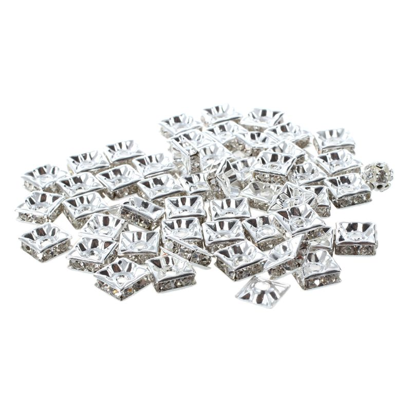 50pcs 10x10mm silver square rhinestone crystal spacer beads Grade A
