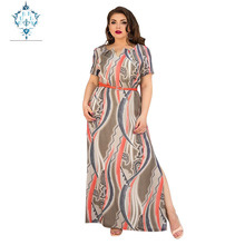 CUERLY 2019 plus size dress elegant large hem split maxi dresses fashion abstract pattern printed belt girl womens clothing