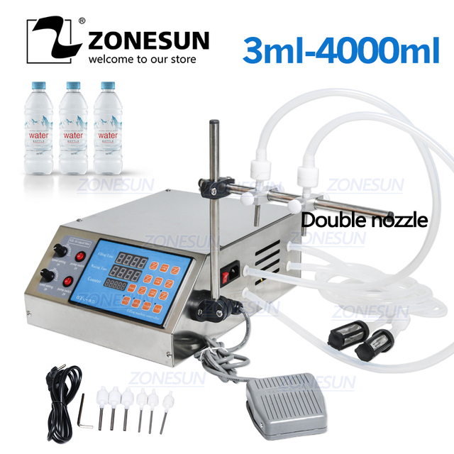 ZONESUN Liquid Filling Machine Electric Digital Control Pump Perfume Water Juice Beverag Essential Oil Bottle Filler 2 Heads