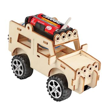 цена на 1Pcs Creative Electric Gizmo Wooden Assembling Blocks Vehicle Toys DIY Student Science Technology Model Brain Game Toy