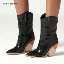 Brand Fashion Embossed Microfiber Leather Women's Ankle Boots Pointed Toe Western Cowboy Boots Women Wedges Riding Runway Boots metal decor luxury brand superstar runway men boots sapatos masculino design men ankle short booties western cowboy hommes boot