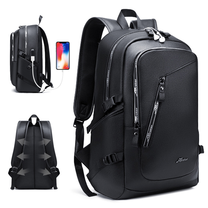 Fashion PU Leather Backpack Shcool Women Men Male 15.6 Laptop Backpacks Waterproof Notebook USB Charging Bagpack Bag Back Pack
