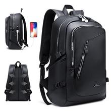 Fashion PU Leather Backpack Shcool Women Men Male 15.6 Laptop Backpacks Waterproof Notebook USB Charging Bagpack Bag Back Pack