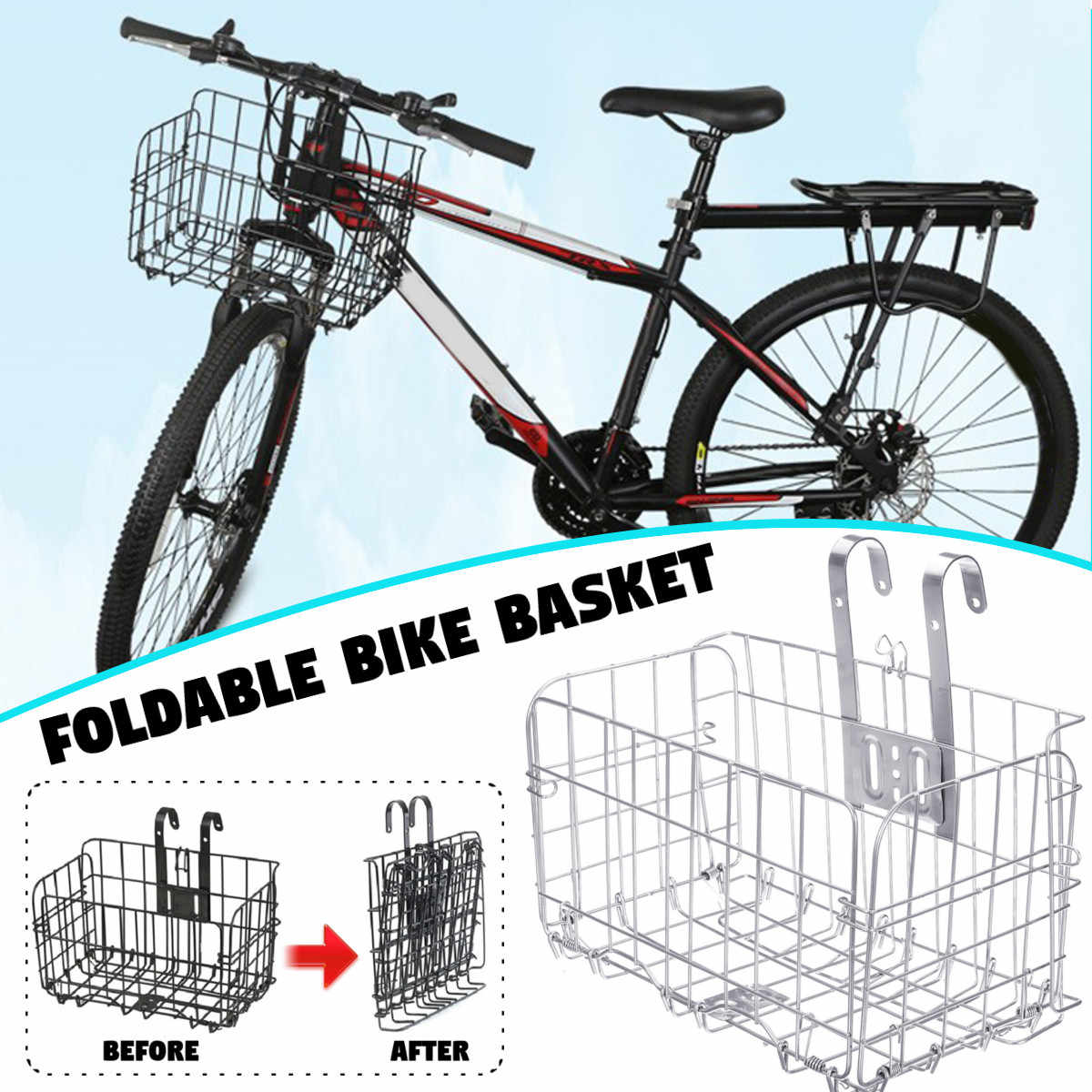 Cesta Plegable Para Bicicleta De Montaña Cesta Plegable De Malla Metálica Para Bicicleta Accesorios Para Piezas De Bicicleta Maletas Y Cestas De Bicicleta Aliexpress
