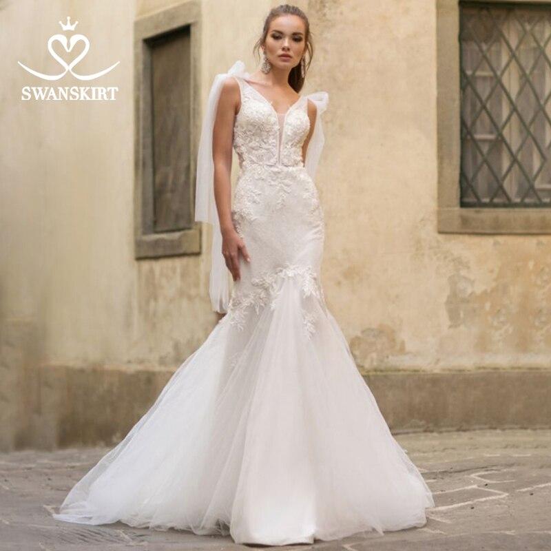 Fairy Mermaid Wedding Dress 2019 Swanskirt Beaded Flowers Appliques Tulle Court Train Bride Gown Princess Robe De Mariee NY110