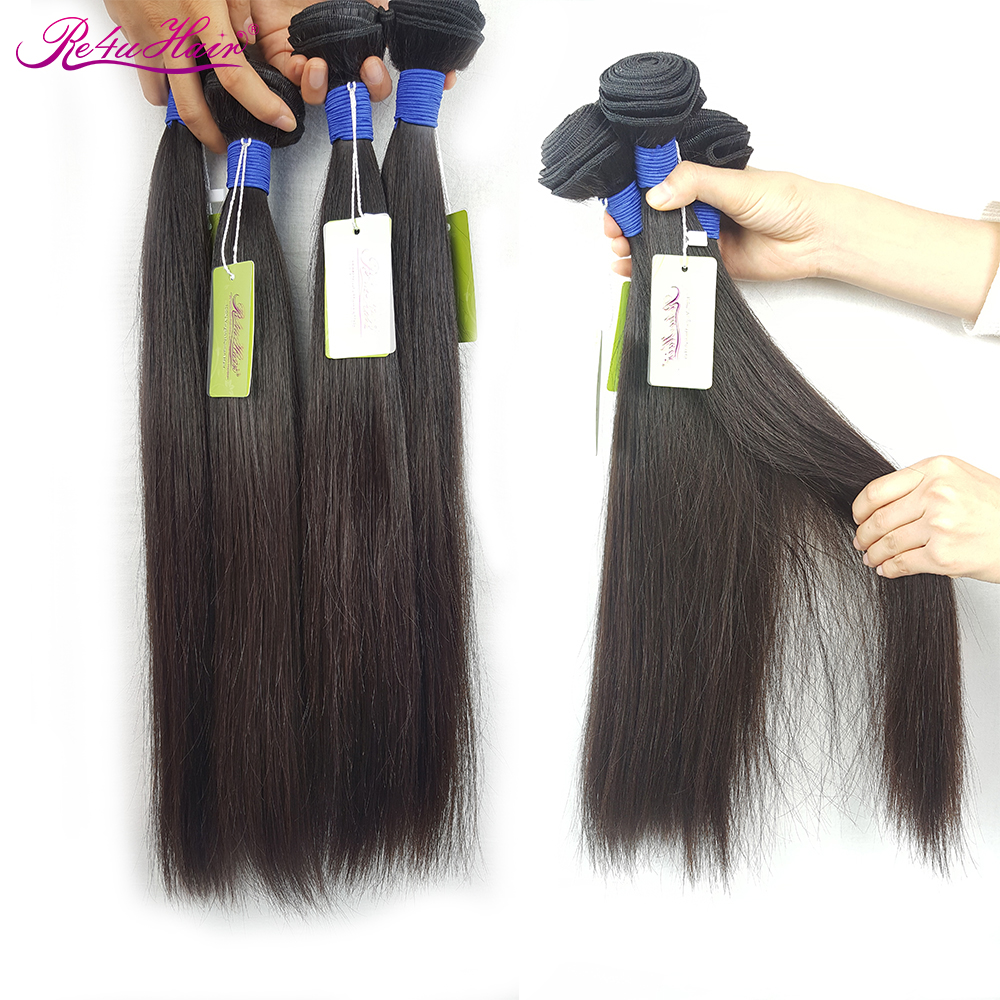 Re4U Straight Hair Bundles 9-41 Inch Long Weave Bundles Raw Temple Hair 4 Bundles Indian Virgin Cuticle Aligned Hair
