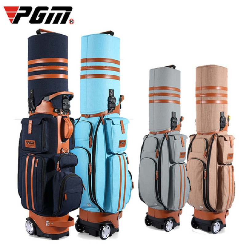 Authentic Pgm Multifunctional Golf Standard Ball Bag Capacity Cover Cart Caddy Viation Bag With Wheels Golf Club Bag A973