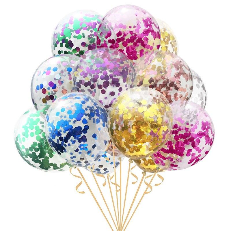5 шт. 12 дюймов розовые латексные гелиевые шары конфетти воздушные шары надувные свадебные декоративные надувные шары с днем рождения