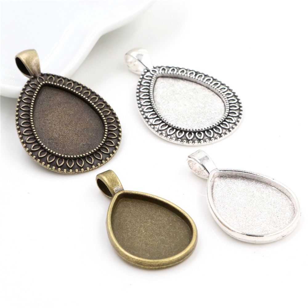 10pcs 18x25mm Inner Size Antique Bronze Silver Plated Drop Style Cameo Cabochon Base Setting Charms Pendant Necklace Findings