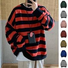Полосатый свитер мужской теплый модный контрастный Повседневный вязаный свитер мужской уличная дикий Свободный пуловер с длинными рукавами мужская одежда