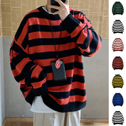 Striped Sweater Men Warm Fashion Contrast Color Casual Knit Sweater Man Streetwear Wild Loose Long-sleeved Pullover Male Clothes