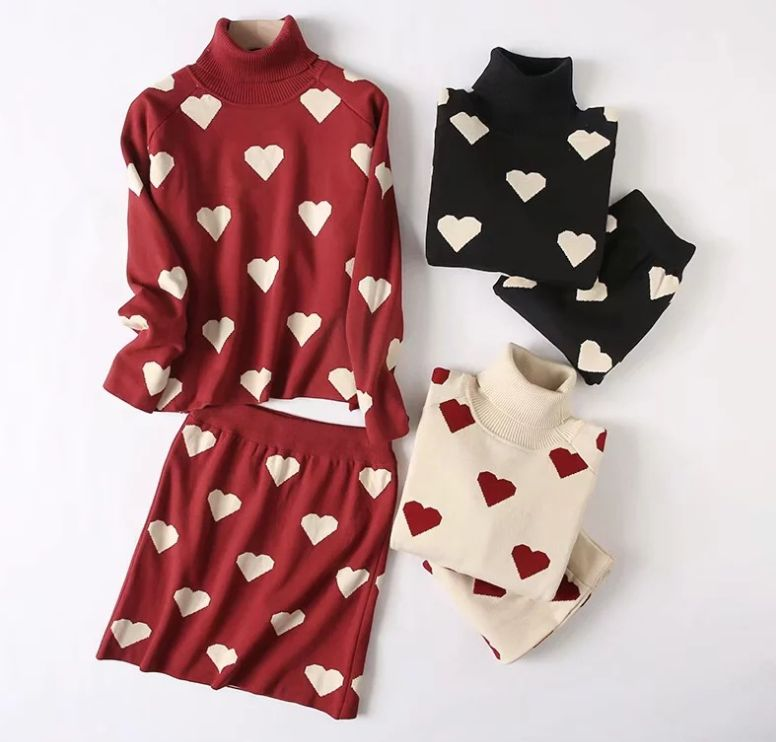 HCBLESS 2019 Autumn And Winter Korean Women's Temperament Sweet Love Jacquard Knit Turtleneck Sweater +skirt