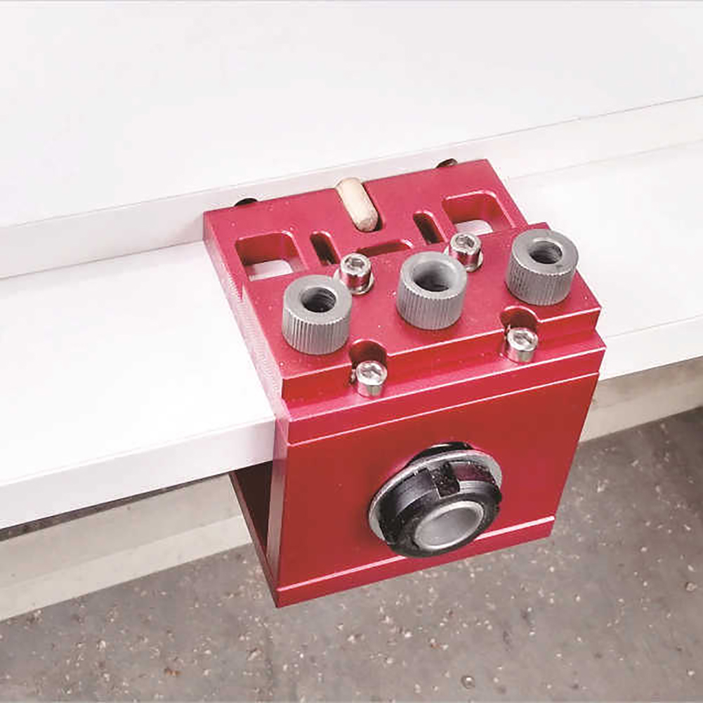 3 in 1 Aluminum Alloy Hole Puncher Woodworking Triple Punch Retainer Wood Puncher Drill Bit Drilling Guide Tools Practical D26