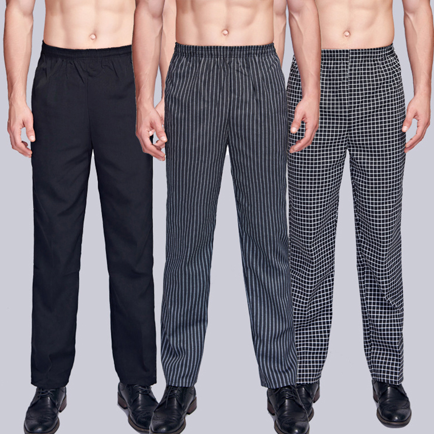 Chef Uniform Trousers Stripe Elastic Waist Restaurant Hotel Wear Work Clothes Men Catering Cook Waiter Chef Pants Bakery Stretch