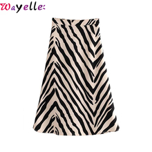 Vintage Zebra Print Midi Skirt Women 2019 Fashion A-Line Animal Pattern Elegant Lady Skirt Korean Chic Long Skirt for Women цена
