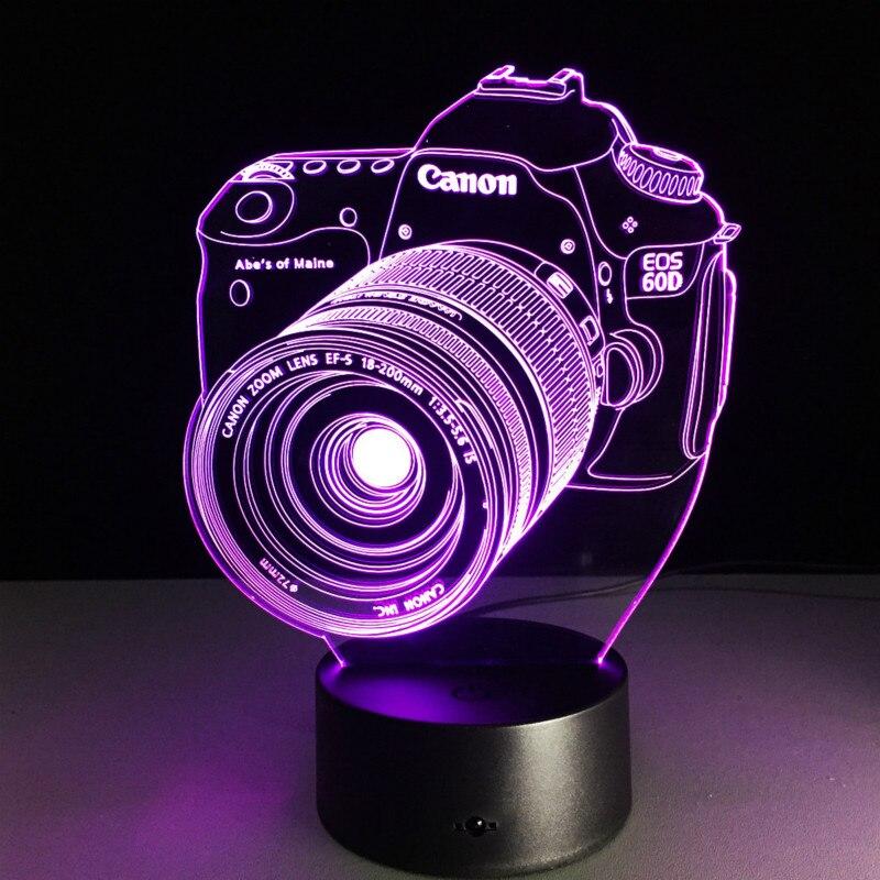 Novelty 3D Night Light LED Remote Control Digital Camera Desk Lamp RGB 7/16 Color USB / Battery Living Room Bedroom Decoration