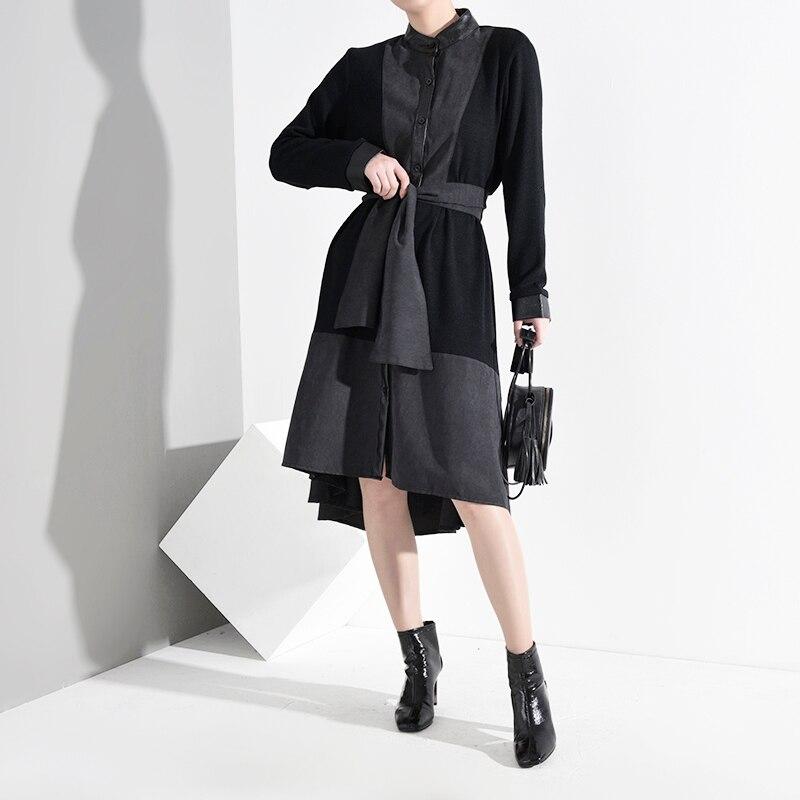 New Fashion Style Pu Leather Bandage Asymmetrical Dress Fashion Nova Clothing