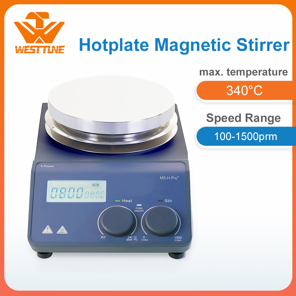 West tune ms-h-proa lab lcd digital magnético hotplate agitador