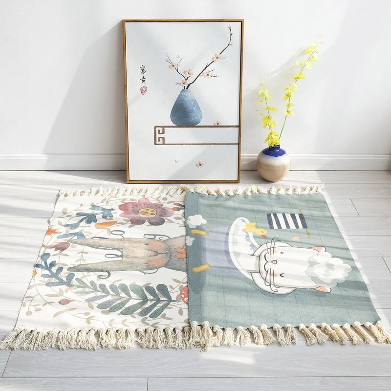 Household Carpet Cartoon Cute Bed Blanket Bed Front Floor Mat Decoration Carpet Long Cotton Linen Woven Bedroom Balcony Mat