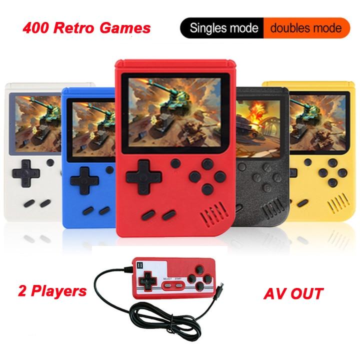Console de jogo handheld portátil embutido 400 jogos 2 conexão de tv jogador gameboy de 8 bits console de jogo retro para o presente da criança
