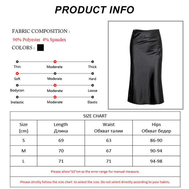 OOTN Casual Silk Black Skirt Women Summer Autumn Knee-Length Office Lady High Waist Elegant Satin Skirts Ladies 2019 Fashion 6