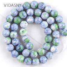Natural Stone Light Blue Green Rain Flower Beads For Jewelry Making 4 6 8 10 12mm Round Diy Bracelet Necklace 15