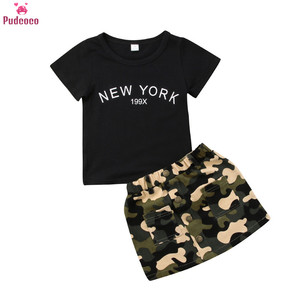 Summer 2 Pieces Toddler Kids Clothes Set Baby Girl Outfits Black Short Sleeve T Shirt and Camouflage Skirts 2pc Sets(China)