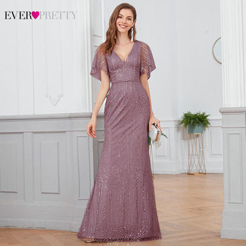 Sexy Mermaid Prom Dresses Ever Pretty EP00838DG Deep V-Neck Sequined Ruffle Sleeve Sparkle Long Party Gala Jurken 2020 - discount item  25% OFF Special Occasion Dresses