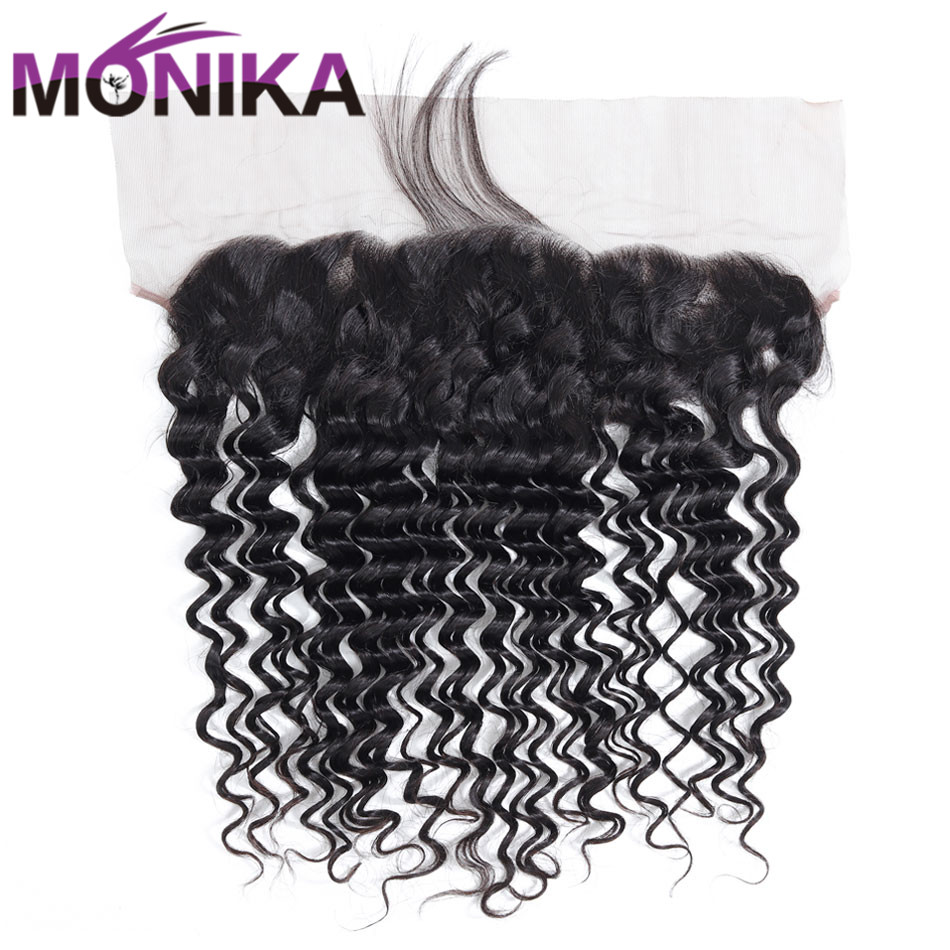 Monika Deep Wave Frontal Ear To Ear Brazilian Closure 13x4 Pre Plucked Lace Frontal Closure Non-Remy Hair Closure Lace Frontal