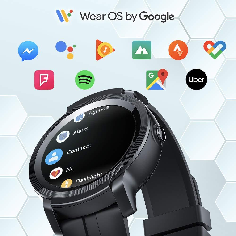 TicWatch E2, черные Смарт-часы для мужчин и женщин, Bluetooth, gps, часы, Android/iOS, совместимые с 5ATM, водонепроницаемые, длинные, Batterylife, оригинал