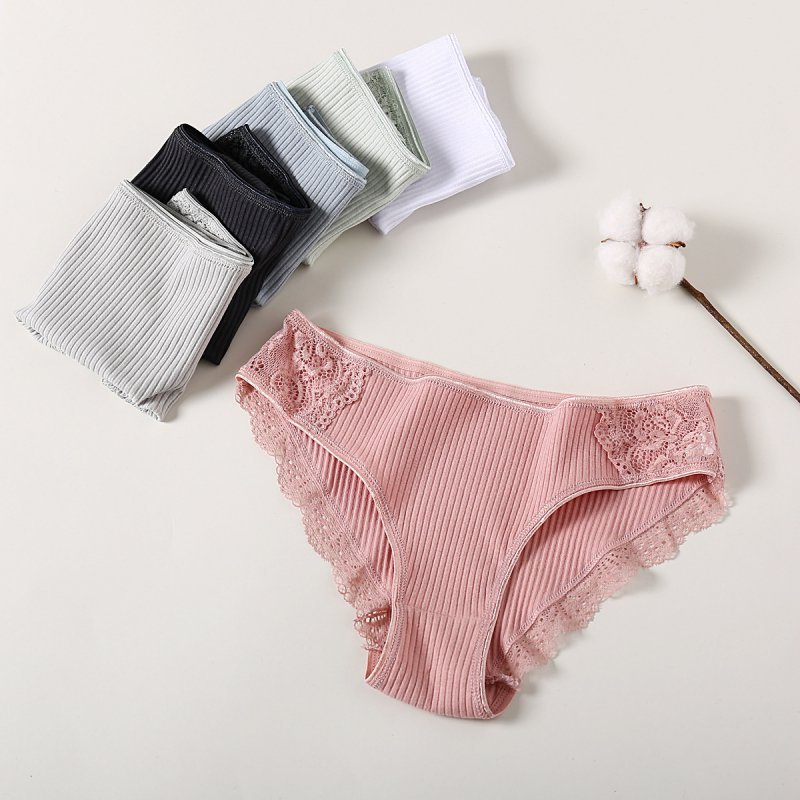 Women Knitted Panties Cotton Striped Triangle Brief Sold Color Lace Low Waist Panties 2020 New Arrival