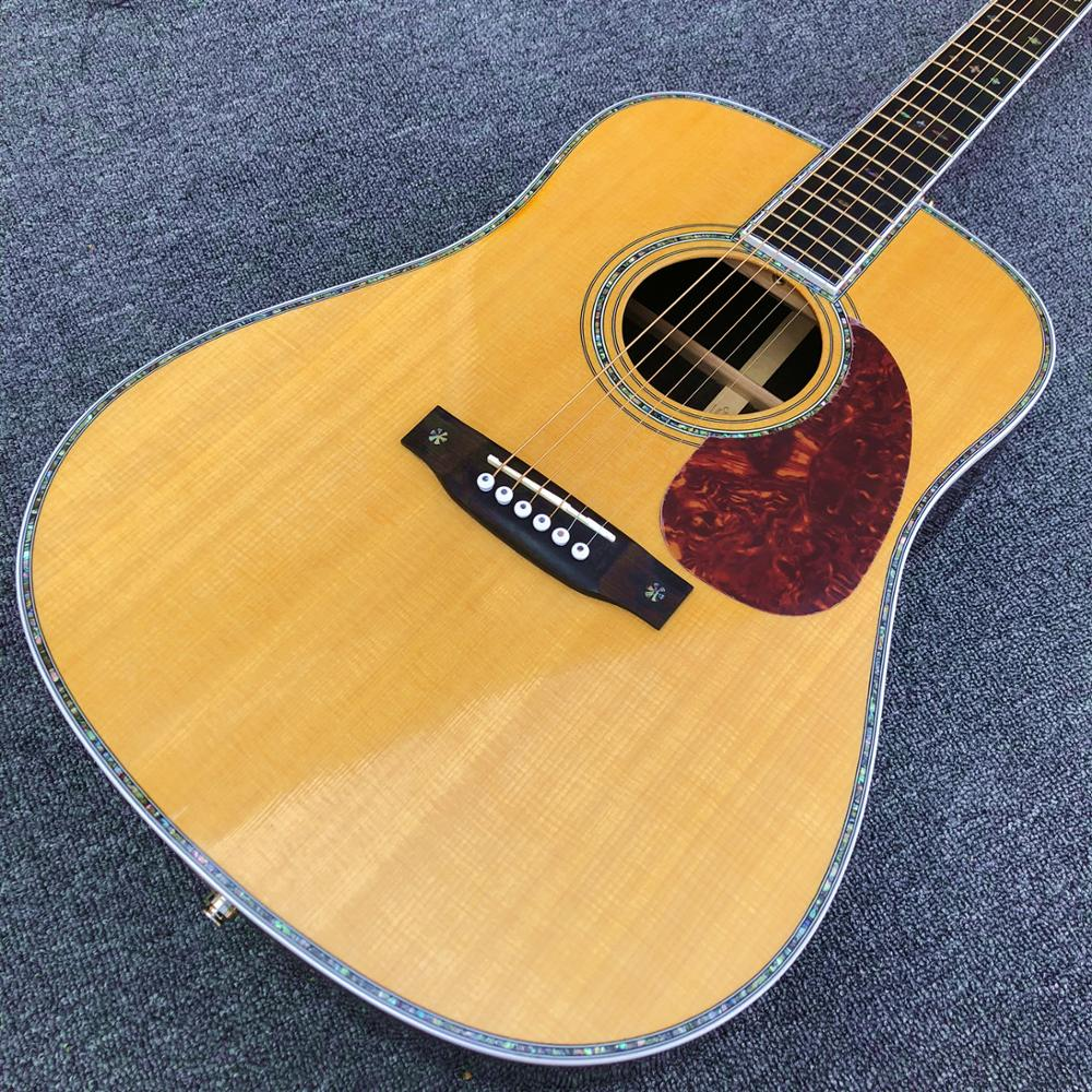 41 inches All Real Abalone D style acoustic guitar,Solid spruce top Ebony fingerboard OEM Custom guitar,Free shipping