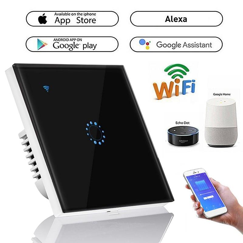 1 2 Gang Wifi Light Switch Touch Switch Smart Light Control Panel Wall interruptor US EU UK Standard Work with Alexa Google Home