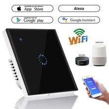 Interruptor de luz interruptor wifi 1/2 gang, interruptor touch, painel de controle inteligente, interruptor de parede us/eu/uk, trabalho padrão com alexa google home
