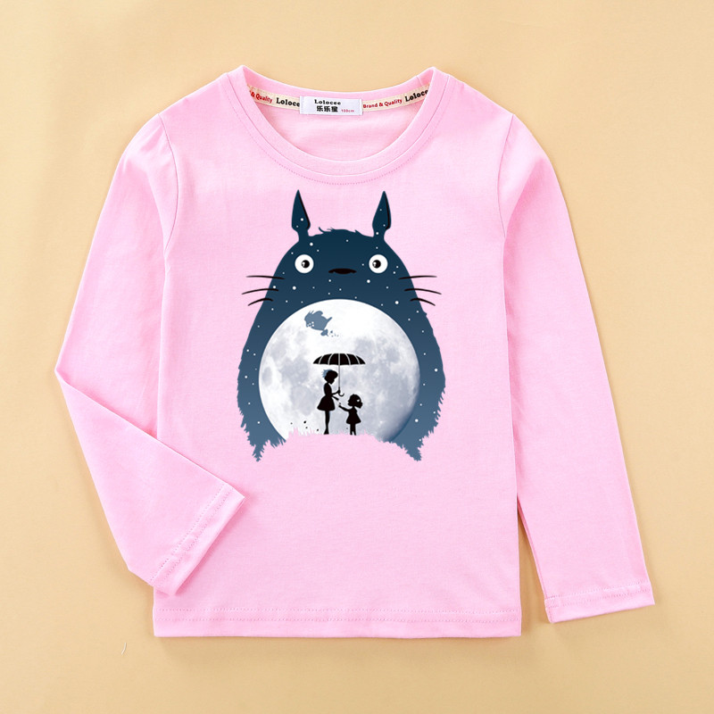 Totoro Tops Kids Autumn Long Sleeve T-shirt 100% Cotton Home Clothes Boys Girls Brands Spring Tees Costume 5