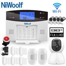 Wifi pstn gsm sistema de alarme compatível com 433mhz sem fio/com fio detectores porta sensor alarme casa inteligente relé saída telefone app