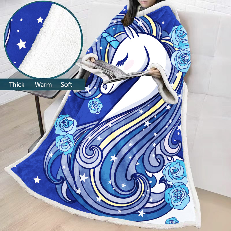 Super Warm & Comfortable Plush Hooded Blanket with Sleeves