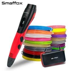 Original smafox 3d caneta com 18 cores 54 medidor de filamento 3d impressora canetas com display lcd artista desenho caneta 3d moldagem