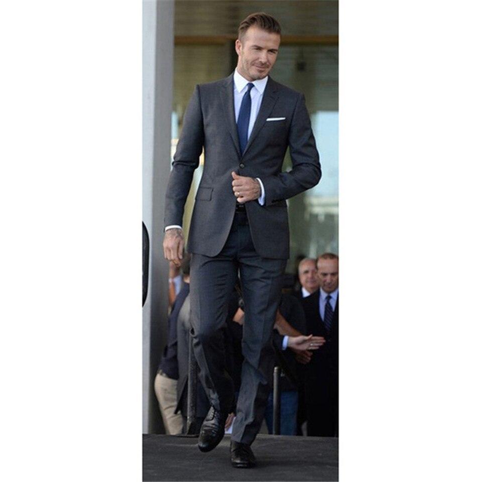 New Men's Suit Smolking Noivo Terno Slim Fit Easculino Evening Suits For Men Grey Gentleman Business Groom Blazer(Jacket+Pants)