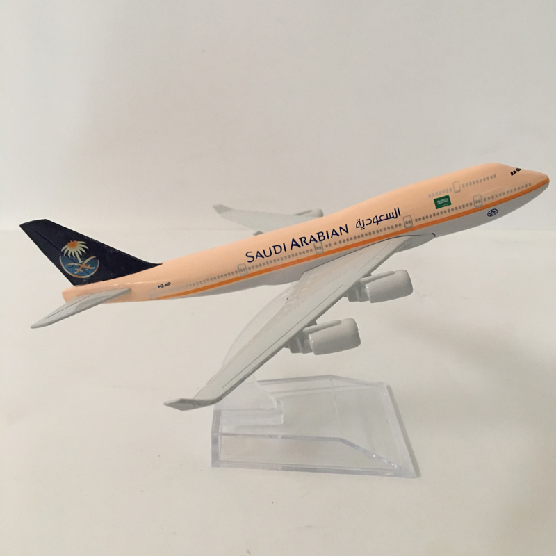 16cm Plane Model Airplane Model SAUDI ARABIAN Boeing 747 Aircraft Model 1:400 Diecast Metal Airplanes Plane Toy Gift Free