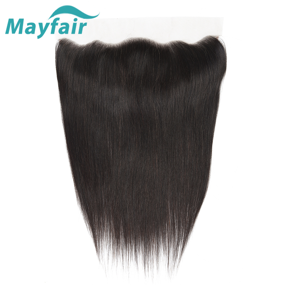 Mayfair Hair Brazilian Straight Human Hair Lace Frontal Closure 13x4 Free Part Swiss Lace 100% Non-Remy Natural Hairline